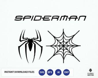 Spiderman Logo. Spider Web Svg. Spider-man Clip art. Spider man Cut Files - Svg, Dxf, Png, Cameo, Cricut. Spiderman stencil. Super hero Svg
