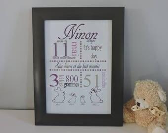 Custom Bunny family birth poster