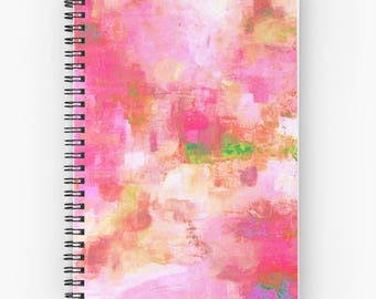Pink Spiral Notebook, Red notebooks, abstract notebooks  - FREE Shipping
