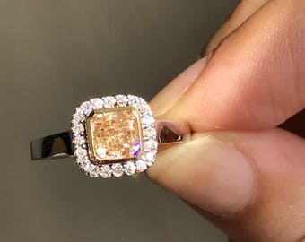 Natural Untreated Golden Champagne Cushion Cut Diamond 18k Gold Ring