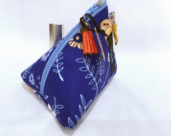 Blue Floral Small Cosmetic Bag, Make up Bag, Small  Make up Bag, Triangle Shape with Lobster Clip, Gift for Her, Coin Purse.