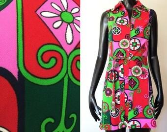 Vintage TeJo of California 1960s 1970s Psychedelic Mod Multicolor Flower Power Floral Print Go Go Mini Dress