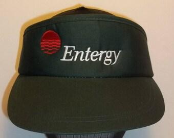 Vintage Visor Baseball Hat Sun Visor Hat Green Embroidered Strapback Hat Visor Entergy Electricity Electrician Visor Hat T35 JN7016