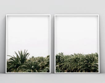 2 Piece Palm Trees Printable, Modern Palm Trees Print, Minimalist Palm Trees Print, Palm Leafs Wall Art, Set of 2, Tropical, Paradise Art