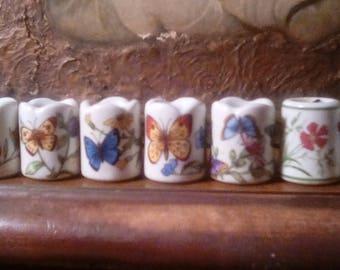 Vintage Germany Mini Porcelain Candle Holders Butterflies Flowers Set of 8