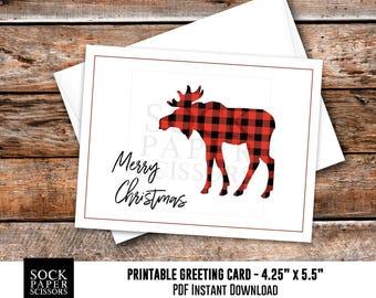 Printable Card, Christmas Card PDF,  Buffalo Plaid Moose, DIY Card Kit, Printable xmas with Card diy Envelope, Merry Christmas, SKU RGC130