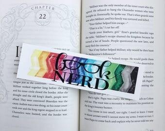 Book Nerd watercolor bookmark
