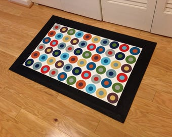Area Rug, Hand-painted Floorcloth Rug - Circles