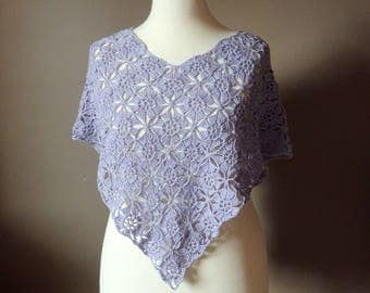 Crochet Poncho Thousand Flowers, light purple cotton yarn