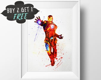 Iron Man Art Print Poster, Avengers Wall Art Watercolor Nursery Decor Printable, Marvel Instant Download, Iron Man Decor Iron Man Watercolor