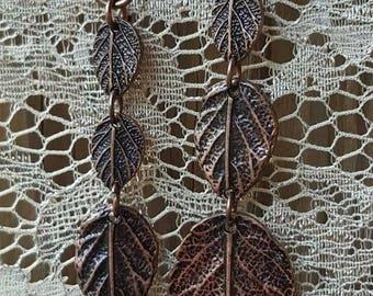 Antique Bronze Leaf Dangle Earrings