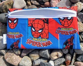 Spiderman blue and red reusable snack bag