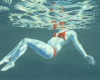 Original Art - Reflections III - Painting in gouache, watercolour & gold leaf. Swimmer / bather from underwater. Artwork by Nancy Farmer