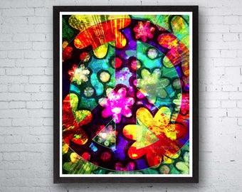 Peace Sign, Hippie Art, Peace Art, Peace Love, Original Hippie, Hippies, Mixed Media Art, Flower Art, Music Festival, Hippie Decor