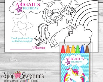 Rainbow Tail Unicorn coloring placemat and crayon set of 10