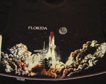 Vintage 90's Florida Rocket Ship Launch San Segal Apparel  Tourist Souvenir Black T Shirt Size L