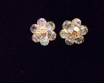 Aurora Borealis Crystal Bead Glass Round Clip On Silvertone Earrings Vintage