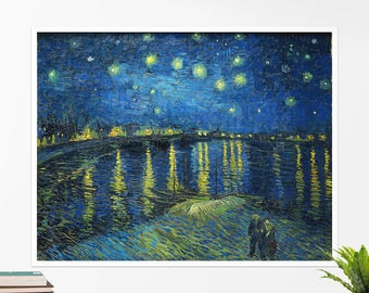 "Vincent Van Gogh, ""Starry Night over Rhone"". Art poster, art print, rolled canvas, art canvas, wall art, wall decor"