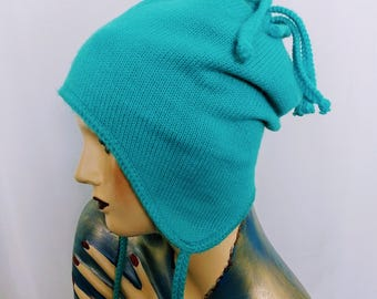 Blue Knit Winter Hat/Women's Skull Knit Cup /Ski Double Knit Hat/90,s Wool Knit Hat/No.292
