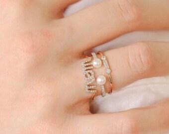 Custom order for Amber - 14k yellow gold mom ring