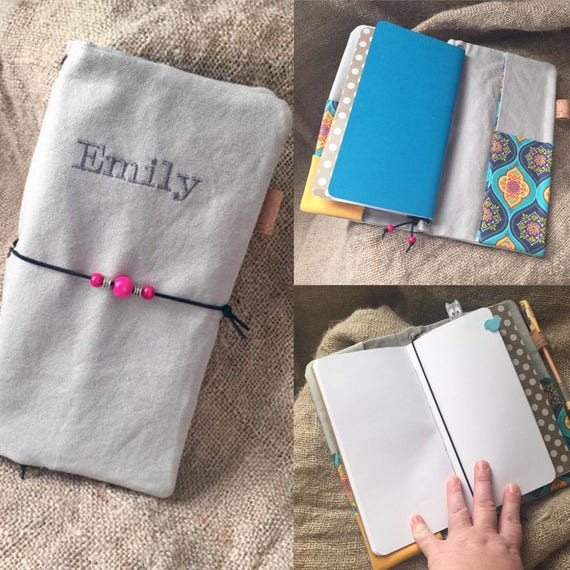 Customizable bullet journal!  Traveler's style canvas notebook with refillable notebook inserts customized with your name or short phrase.