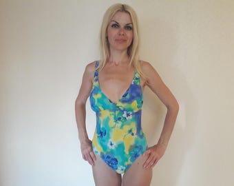 Vintage 80s one piece swimsuit, Women Bathing Suit, vintage floral swimsuit, yellow and light blue swimsuit, swim suit women, size M