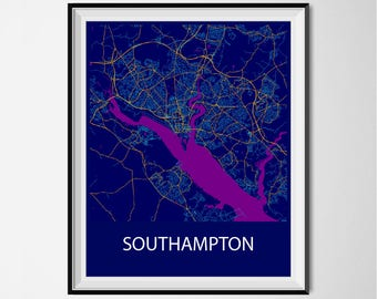 Southampton Map Poster Print - Night