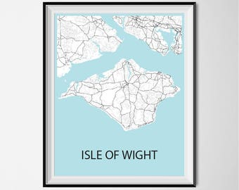 Isle Of Wight Map Poster Print - Black and White