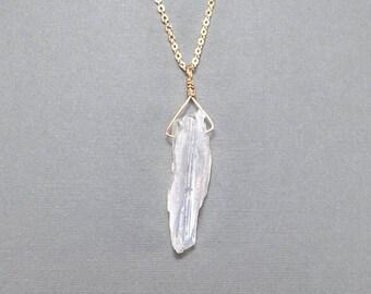 Matte Quartz Wire Wrapped Pendant Necklace