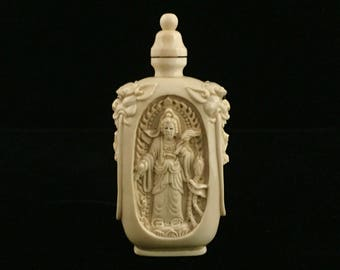 Hand Carved Bone Chinese Snuff Bottle with incredible detail!  A really rare find!