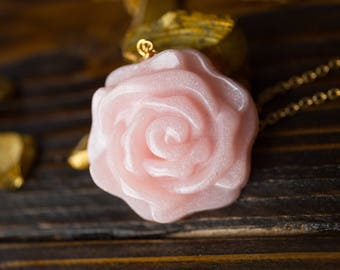 Pink Resin Rose Necklace