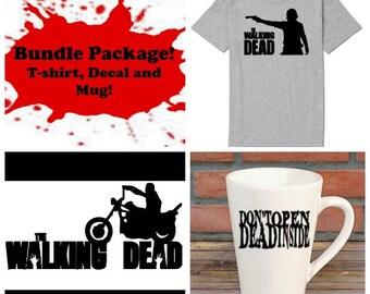 The Walking Dead Zombie Daryl Bundle Gift Package Unisex Shirt Decal Mug Present Horror Lover Decor Halloween Merch Massacre