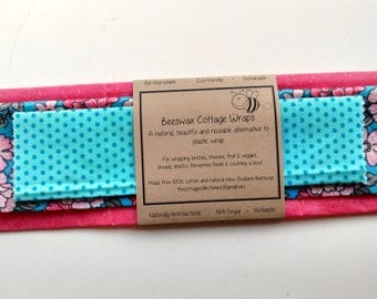 Beeswax Cottage Wraps 'Pink & Blue Boldness' - eco-friendly alternative to plastic cling wrap