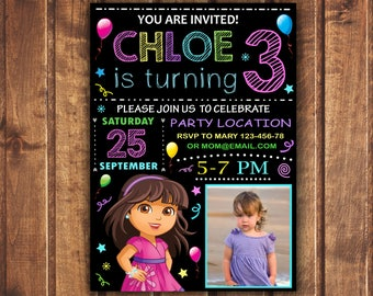 SALE Dora and Friends Birthday Invitation, Dora Invite,  New Dora Invitation, Dora Invitation