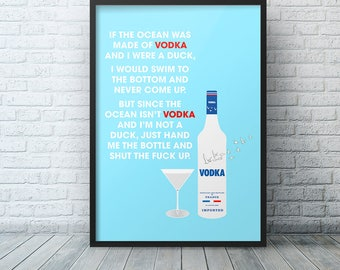 Alcohol print, Alcohol room decor, Man Cave decor, alcohol poster, Vodka print, Printable funny, Drinking Quote, Alcohol Quote, Printable