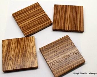 Wood Coasters - Zebra Wood Coaster Set - Solid Zebrawood Exotic Hardwood Coasters - Housewarming Gift