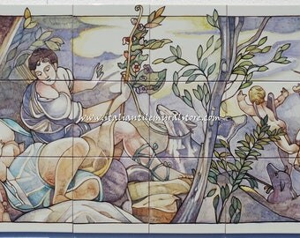 Musical Angel Hand painted artistic wall panel on ceramic tiles vintage. Made in Italy