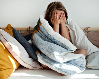 Duvet cover / Kid room decor / Blue duvet cover / Kid bedding / Hand dyed bedding