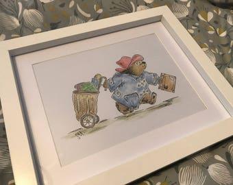 Hand Painted Paddington Bear Watercolor