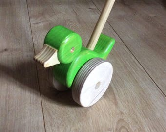 Handmade Classic Baby Toddle Push Along Toy - Duck Design