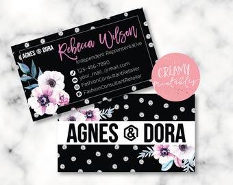 Agnes and Dora Business Cards, Free Personalization, Floral Agnes & Dora Cards, Black/White Business Cards, Representative Cards
