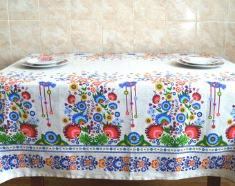 Ethnic tablecloth with flowers and birds, Table linens, Linen tablecloth, Ethnic Ukrainian, Vintage tablecloth, Floral tablecloth