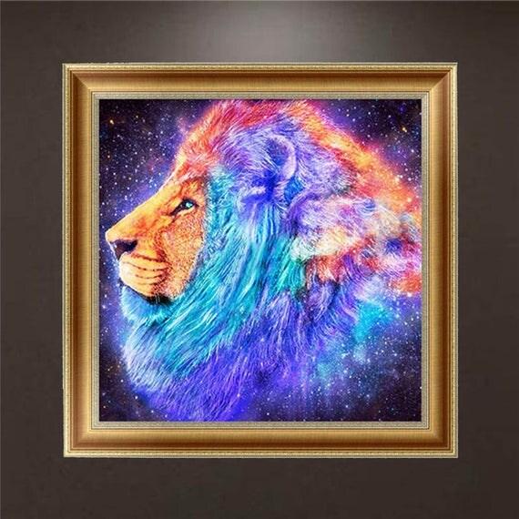 Articles similaires broderie diamant t te de lion profil for Fenetre 30x30