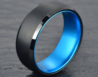 Black Tungsten Ring Blue Anodized Aluminum Interior Mens 8MM Wedding Band Mens Wedding Ring Custom Rings By Pristine