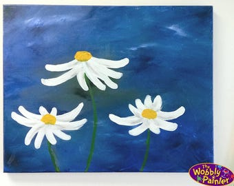 "Acrylic Painting ""Something About Daisies"" 16x20 colorful art paint on canvas daisy flower flowers garden unframed"