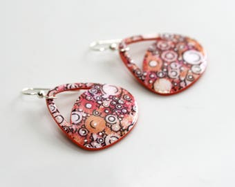 Orange Dangle Earrings, Small, Contemporary Paper Earrings, Statement Earrings, Gift for her, Lightweight Earrings, Paper Gift