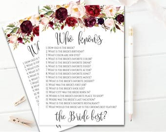Editable Who Knows The Bride Best Game Floral Bridal Shower Cards How Well Do You Know The Bride Game Instant Download Bridal Shower Games