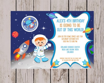 Space Party, Astronaut Birthday Party, Spaceship Birthday Party, Out of this World Birthday Party Digital Invitation (Choose your Astronaut)