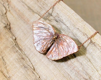 Electroformed Real Butterfly Copper Necklace