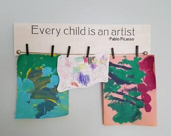 Every child is an artist sign/ kids art holder/ kids art hanger